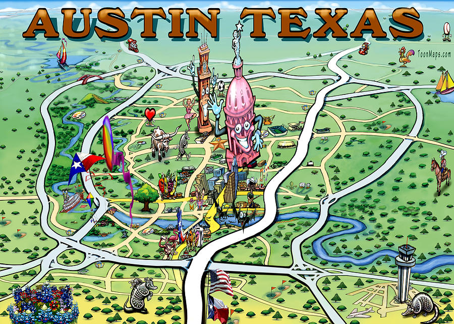Austin Texas Fun Map Painting by Kevin Middleton on