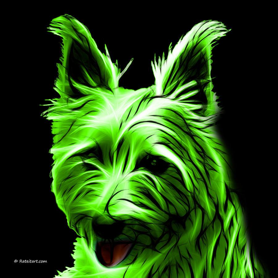 Terrier Digital Art - Australian Terrier Pop Art - Green by James Ahn