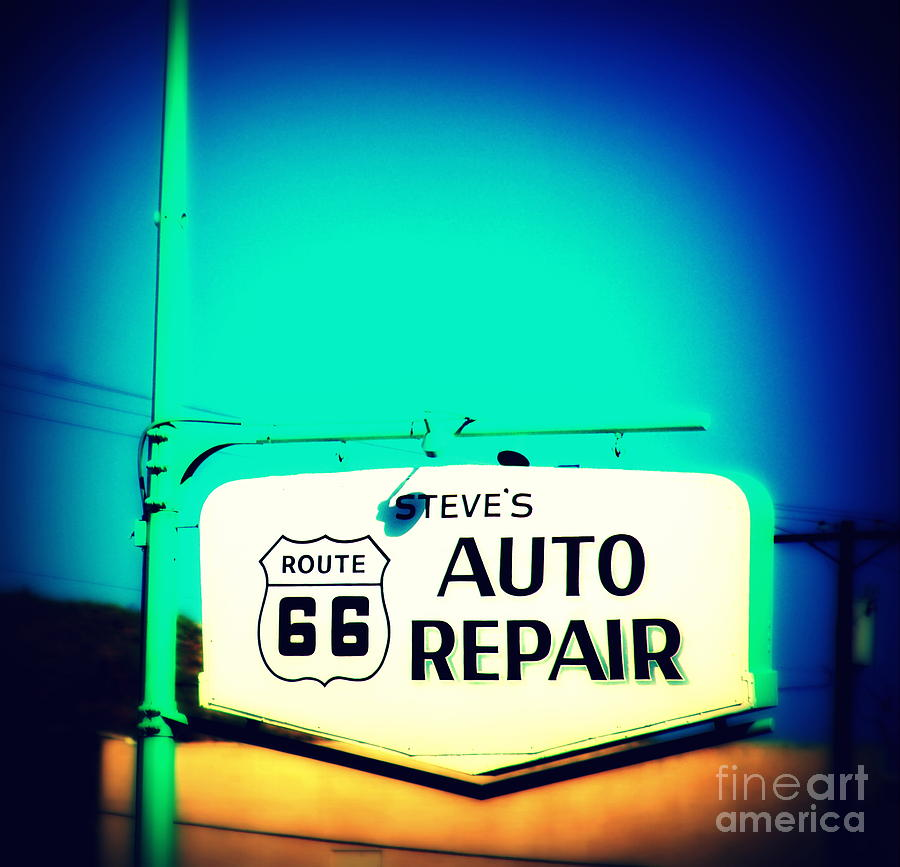 Auto Repair Photograph - Auto Repair Sign On Route 66 by Susanne Van Hulst