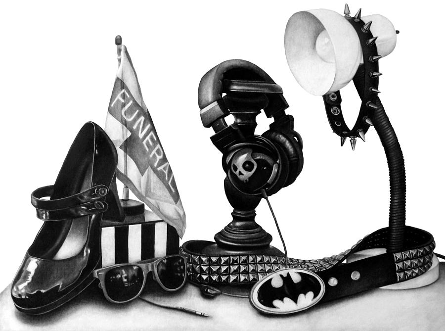 Charcoal Drawing - Autobiographical Still Life by Kalie Hoodhood
