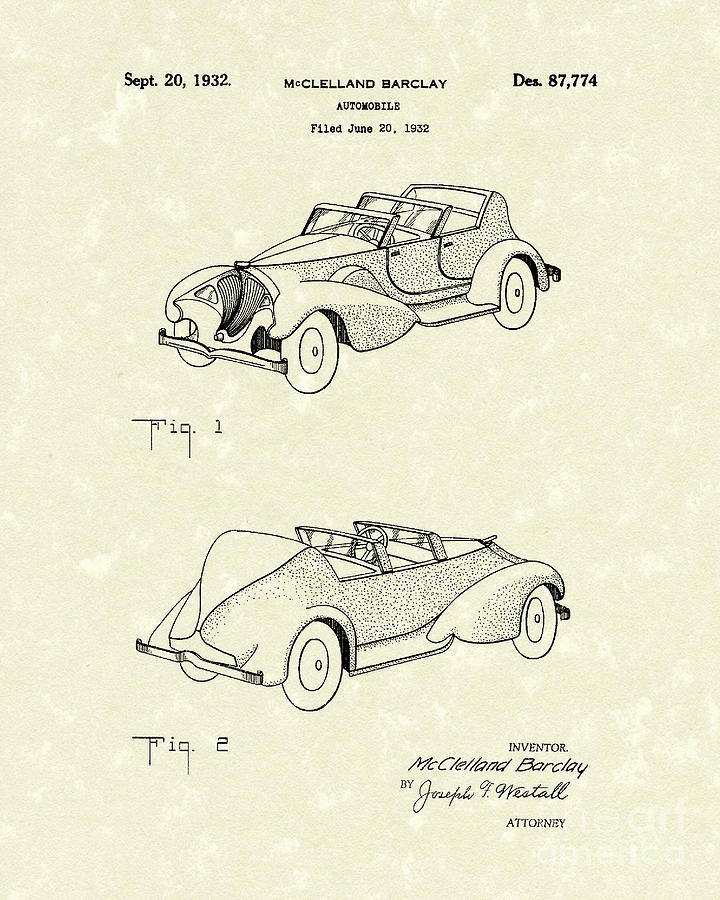 Motor Drawing - Automobile Mccelland Barclay 1932 Patent Art by Prior Art Design