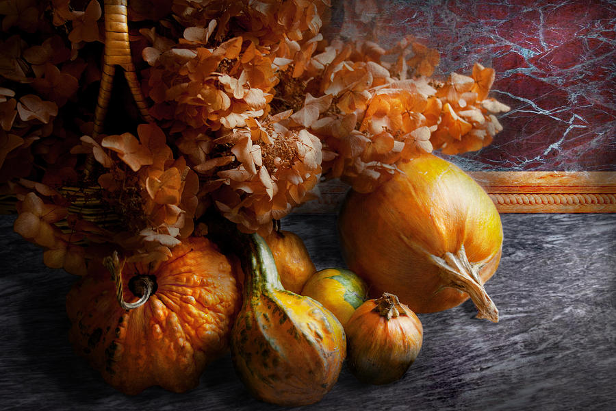 Pumpkin Photograph - Autumn - Gourd - Still Life With Gourds by Mike Savad