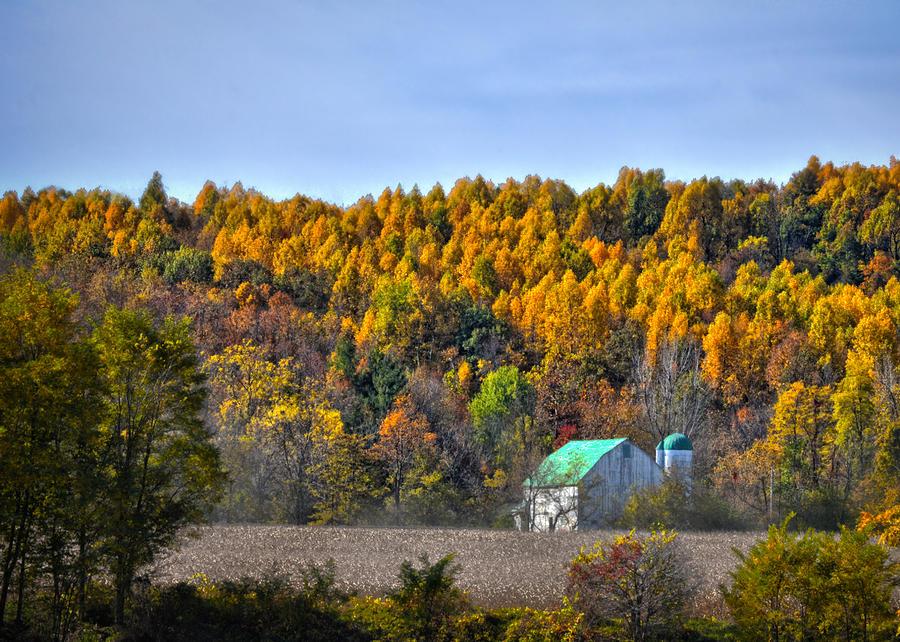 Autumn Photograph - Autumn Barn Zanesfield Ohio by Brian Mollenkopf