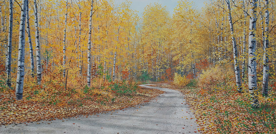 Canadian Painting - Autumn Birches by Jake Vandenbrink