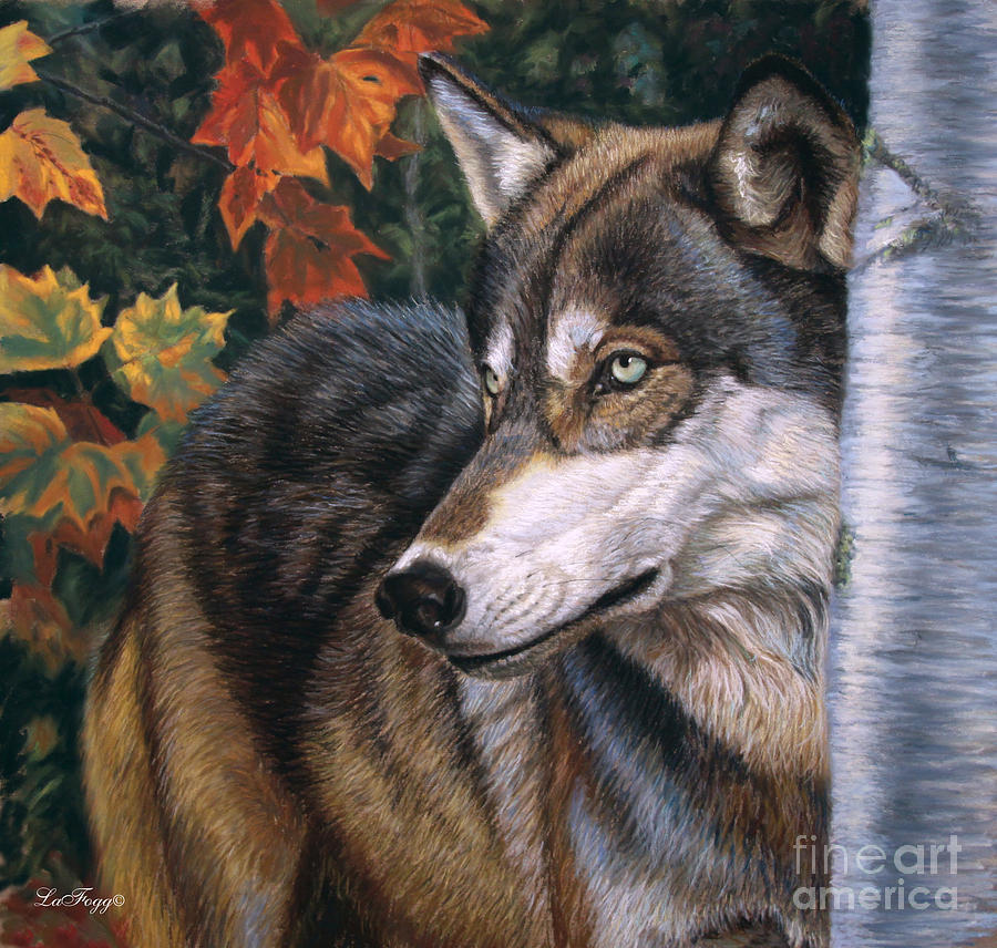 Wolves Painting - Autumn Eyes by Deb LaFogg-Docherty