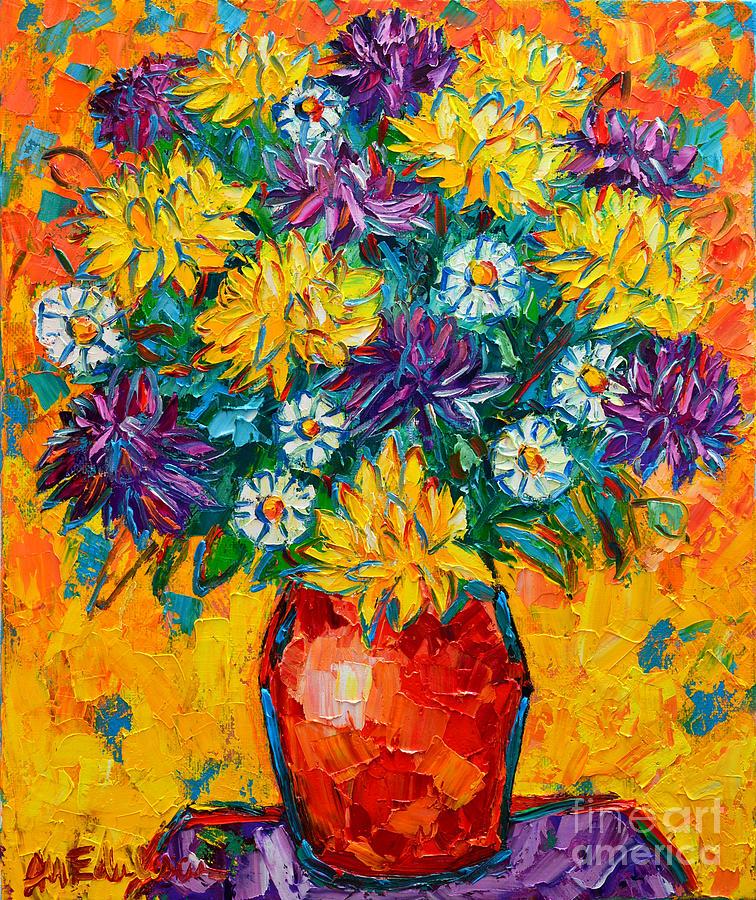 Chrysanthemums Painting - Autumn Flowers Gorgeous Mums - Original Oil Painting by Ana Maria Edulescu