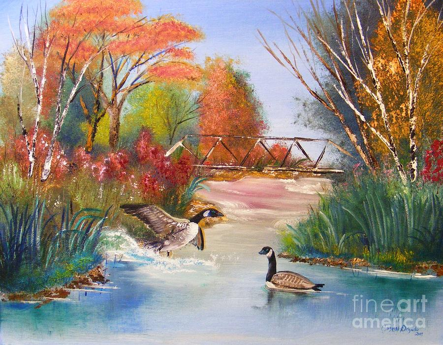 Oil Painting - Autumn Geese by Crispin  Delgado