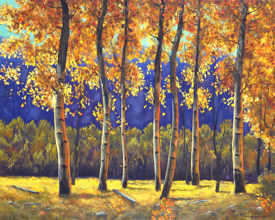 Autumn Trees Painting - Autumn Glow by Connie Tom