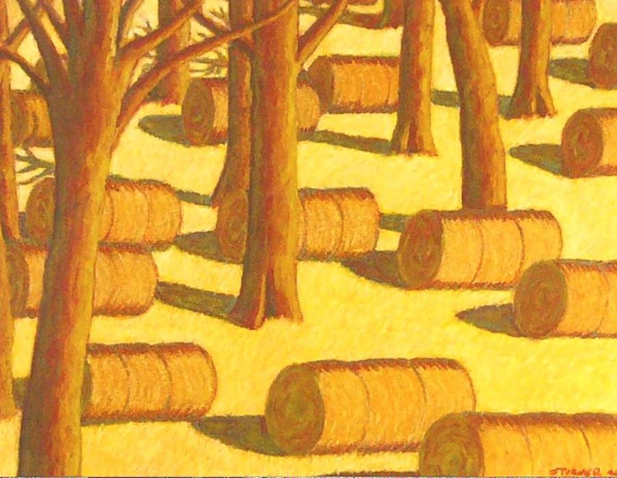 Autumn Haybales Pastel by John  Turner