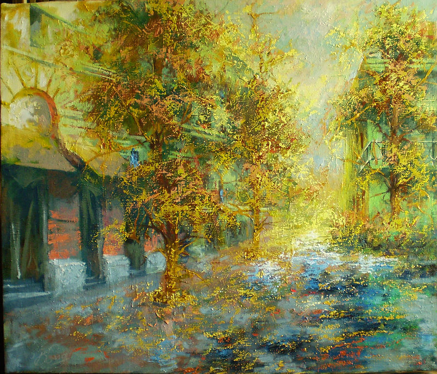 Landscape Painting - Autumn In City by Valery Sidorov