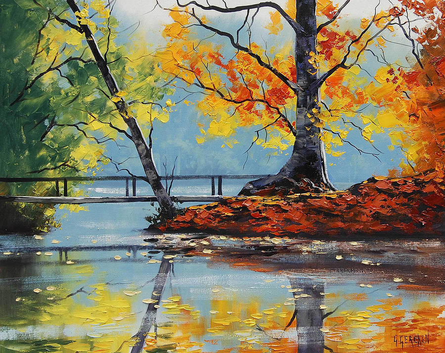Autumn Lake Painting By Graham Gercken