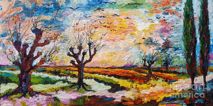 Landscape Painting - Autumn Migration Landscape  by Ginette Callaway