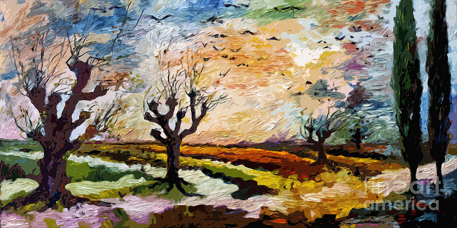 Landscape Painting - Autumn Migration Panoramic Landscape by Ginette Callaway