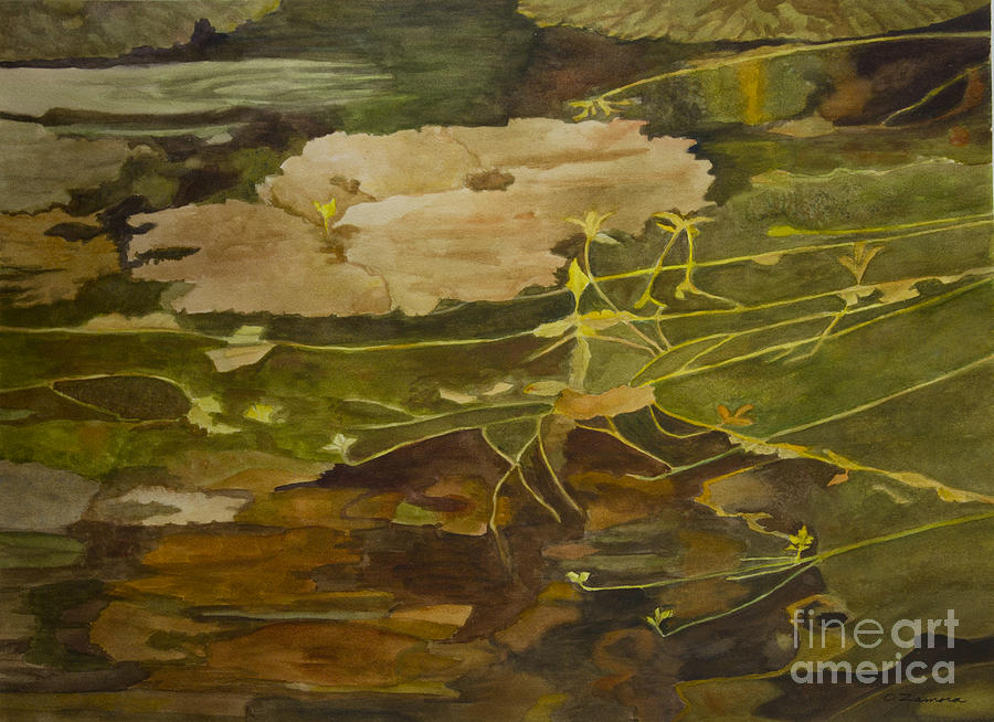 Waterscape Painting - Autumn Pond by Olga Zamora
