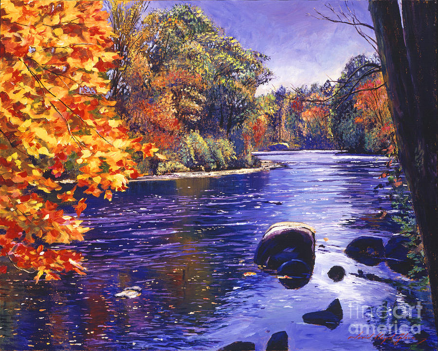 Landscape Painting - Autumn River by David Lloyd Glover
