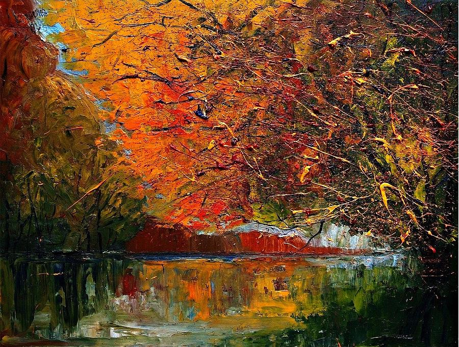 Autumn Painting - Autumn...-river by Justyna Kopania