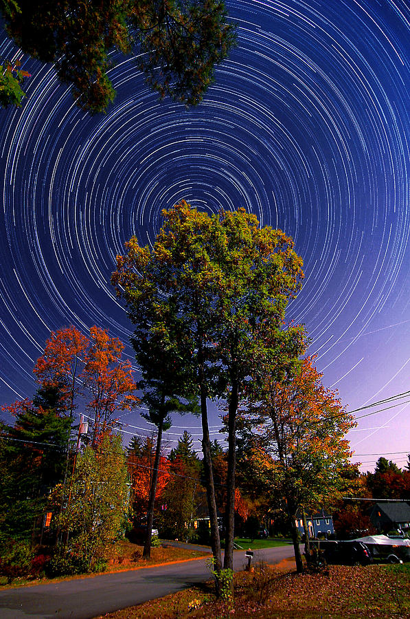 Star Trail Photograph - Autumn Star Trails In New Hampshire by Larry Landolfi