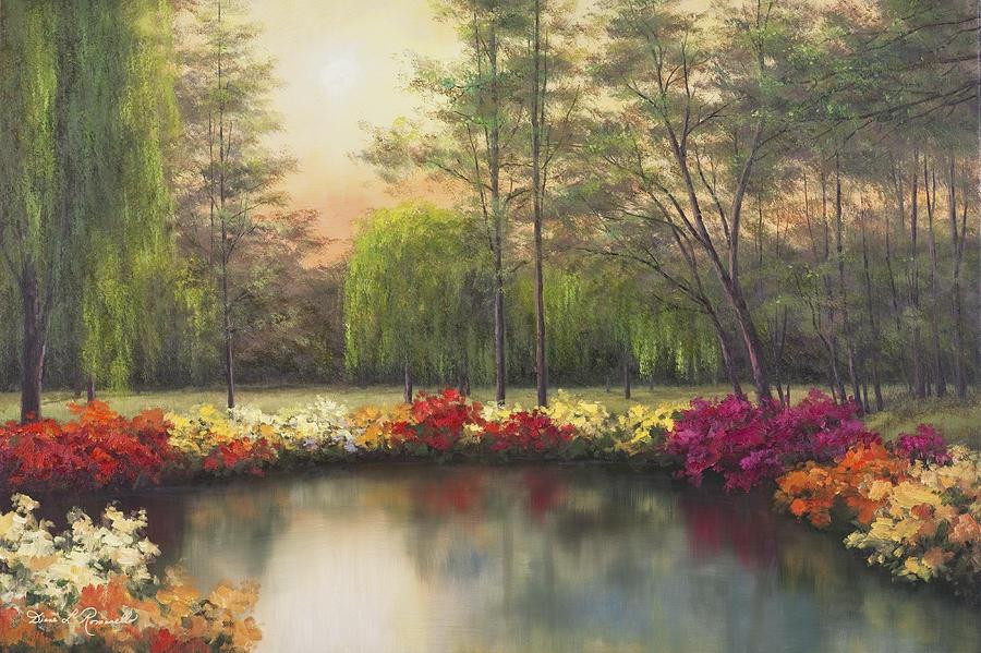 Autumn Prints Painting - Autumn Sunset by Diane Romanello