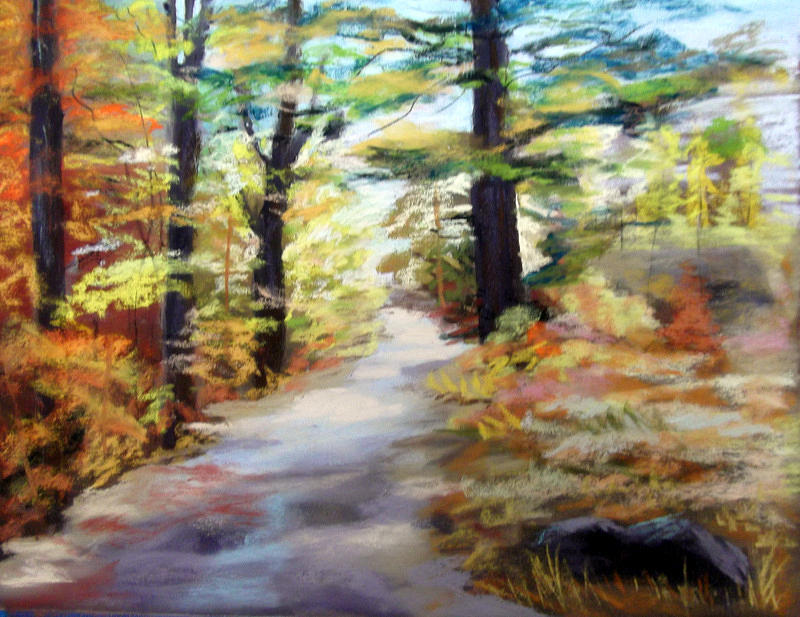 Landscape Painting - Autumn Walk In The Woods by Trudy Morris