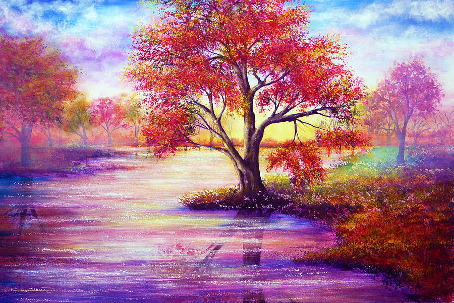 Hand Painted Painting - Autumn Waters by Ann Marie Bone