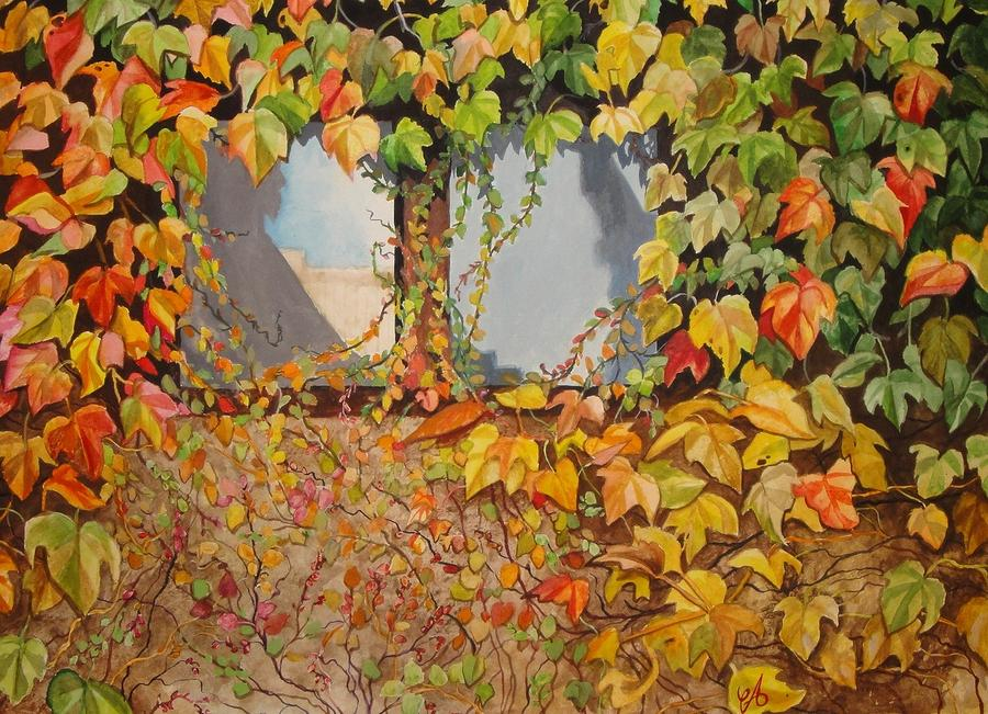 Autumn Window Treatment Painting By Carrie Auwaerter