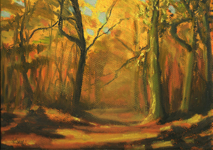 autumn woods 1 pastel by paul mitchell