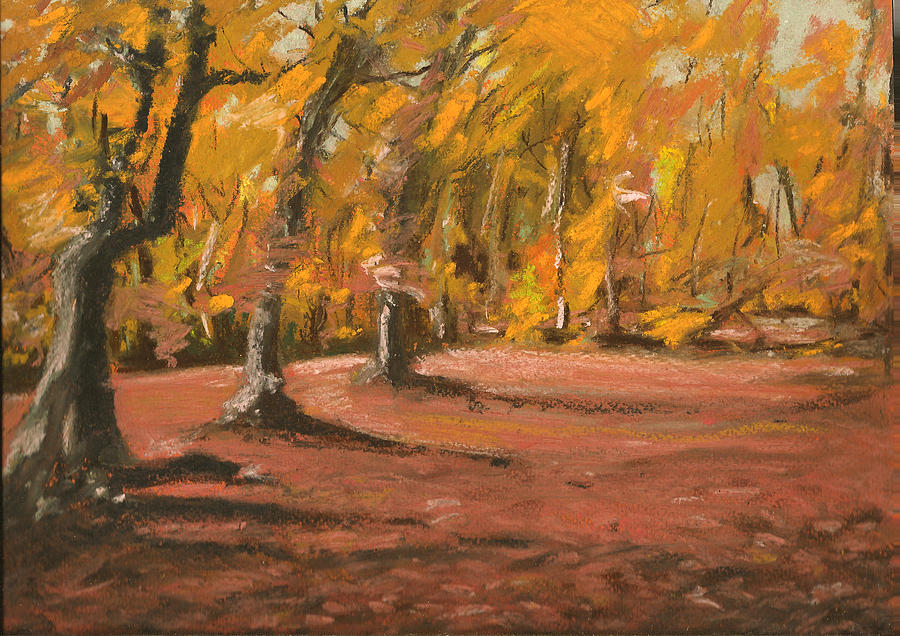 autumn woods 6 pastel by paul mitchell