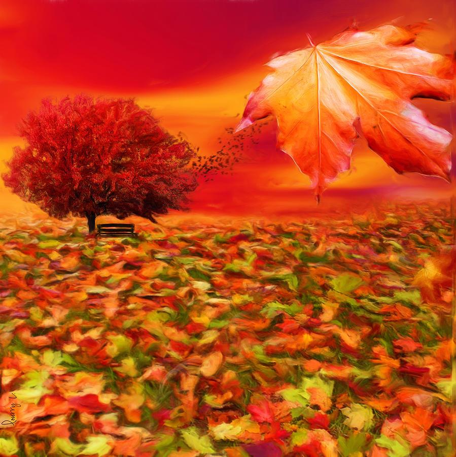 Maple Tree Digital Art - Autumnal Scene by Lourry Legarde
