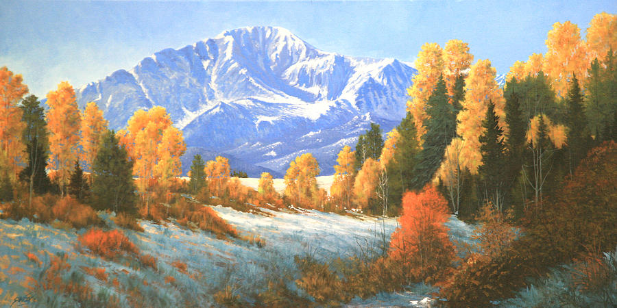 Pikes Peak Painting - Autumns Song - Pikes Peak 111119-1836 by Kenneth Shanika