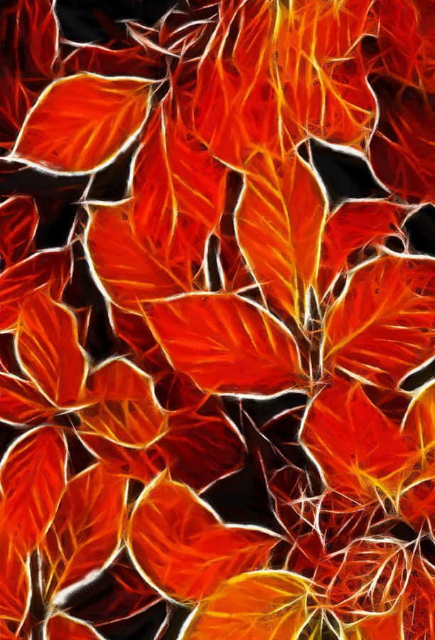 Pastel Oil Painting Drawing Leaves Autumn Blood Red Leaf Structure Texture Deco Pastel - Autums Blood by Steve K