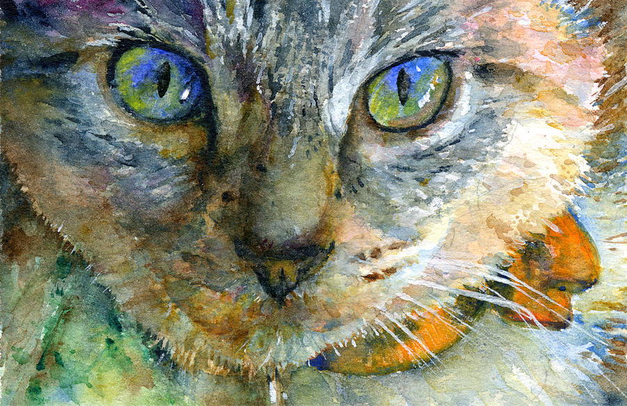 Cat Painting - Avalon 2 by John D Benson