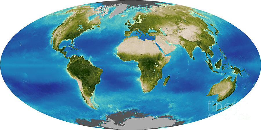 Biosphere Photograph - Average Plant Growth Of The Earth by Stocktrek Images