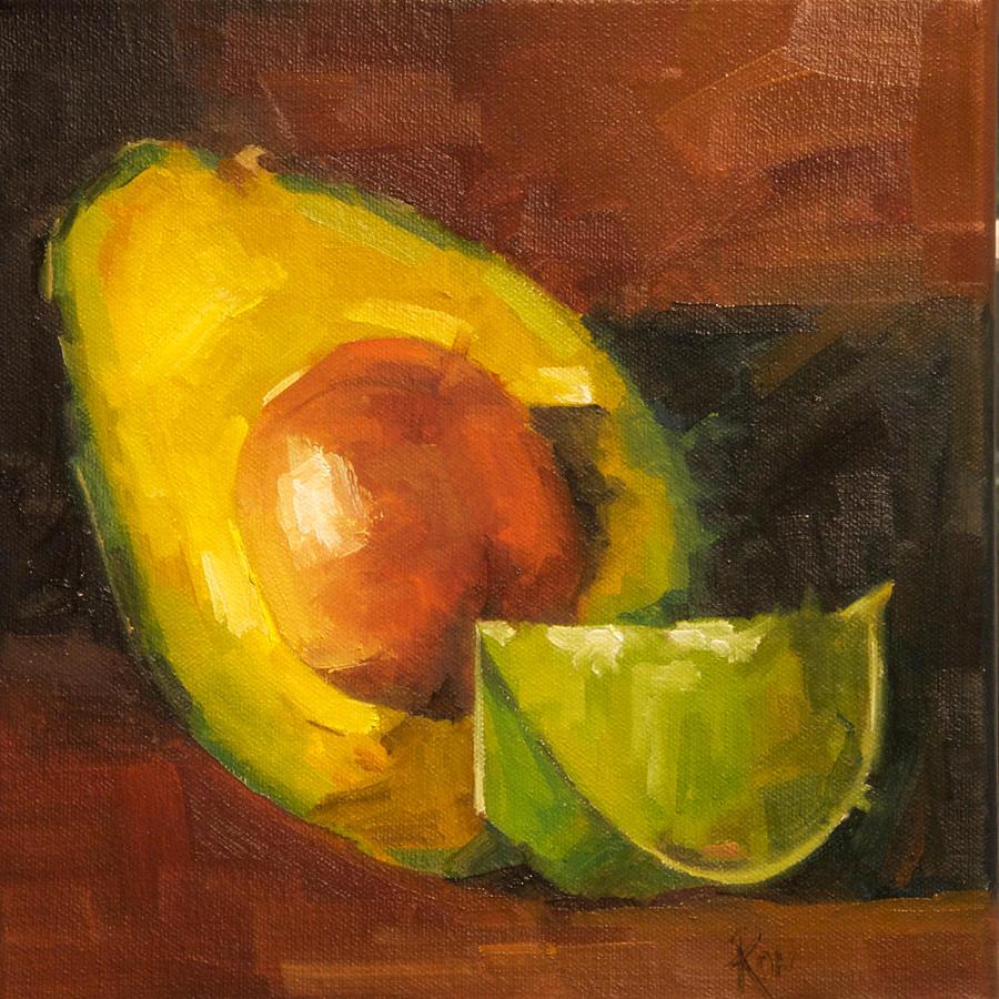 Fruits Painting - Avocado And Lemon by Jose Romero