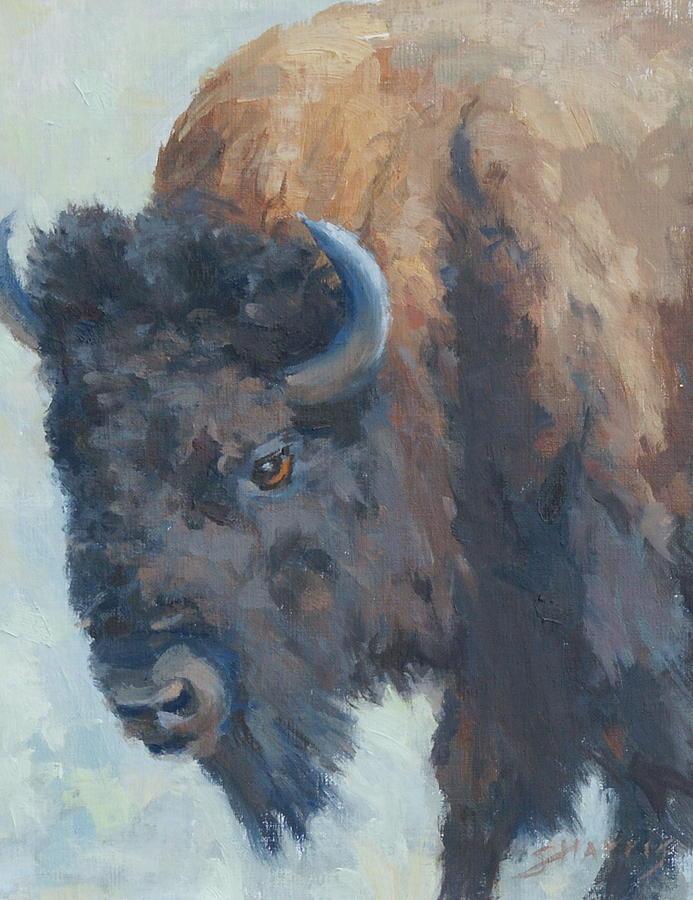 Buffalo Painting - Awesome Strength by Sandra Harris