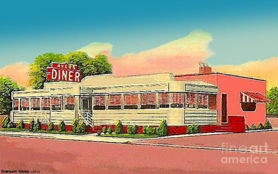 Ayers diner in north salisbury md 1950 painting by dwight goss for Diner painting