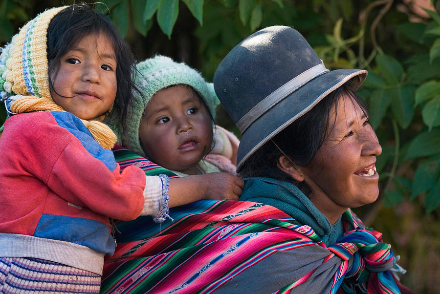 Women Photograph - Aymara Women With Their Children. Republic Of Bolivia. by Eric Bauer