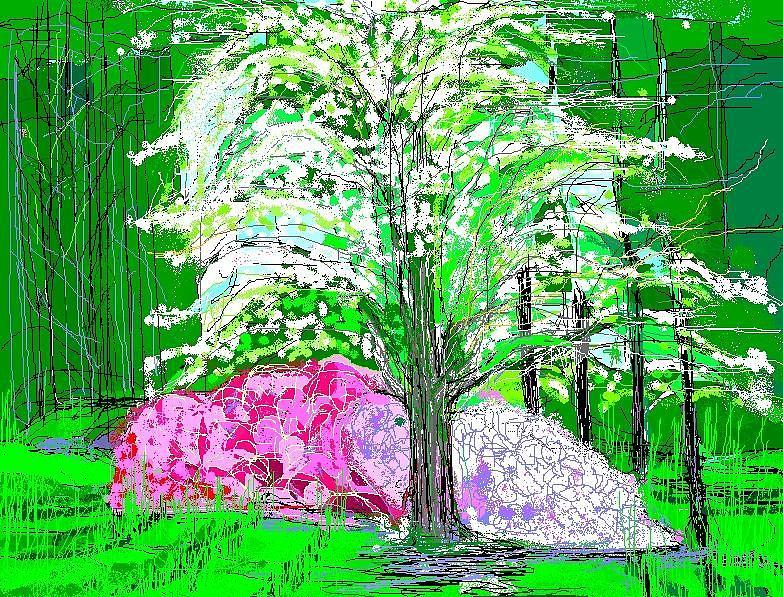 Landscape Digital Art - Azaleas And Dogwood by Alberto Lacoius-Petruccelli