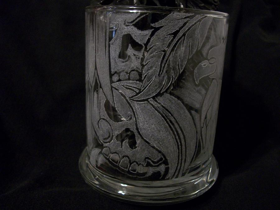 Glass Etching Glass Art - Aztec Glass Etching by Lupe Gonzalez
