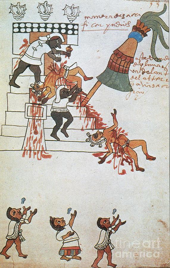 Aztec Human Sacrifice, Codex Tudela Photograph by Photo ...