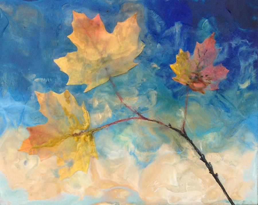Leaves Painting - Azure Shadows by Ruth Stromswold