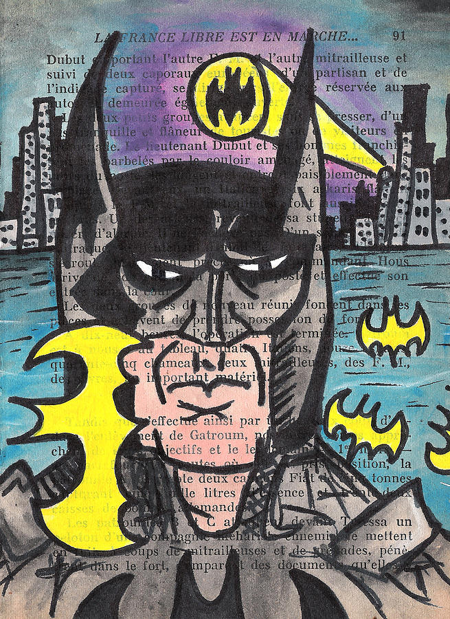 Bat Painting - B-man by Jera Sky