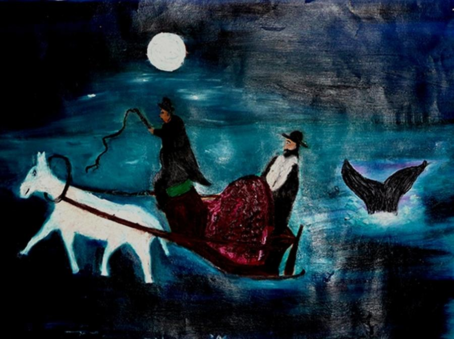 Jewish Painting - Baal Shem Tov In His Carriage by Eliezer Sobel