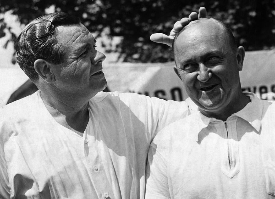 20th Century Photograph - Babe Ruth, And Ty Cobb, Circa 1941. Csu by Everett