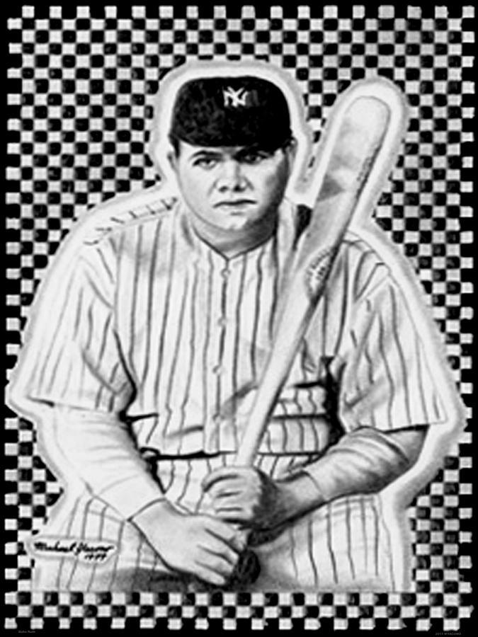 Baseball Drawing - Babe Ruth by Michael Yacono