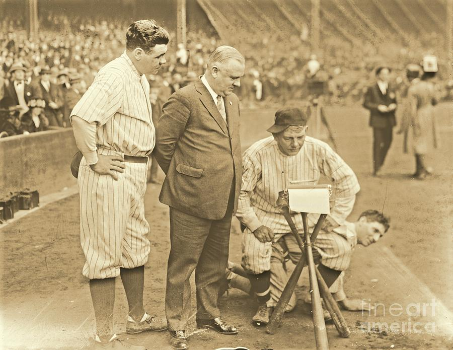 Babe Ruth Photograph - Babe Ruth Studies The Roster by Padre Art