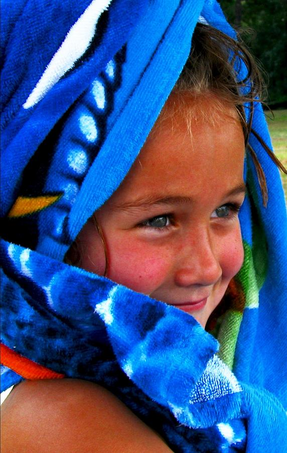 Little Girl Digital Art - Baby Blue Eyes by Carrie OBrien Sibley