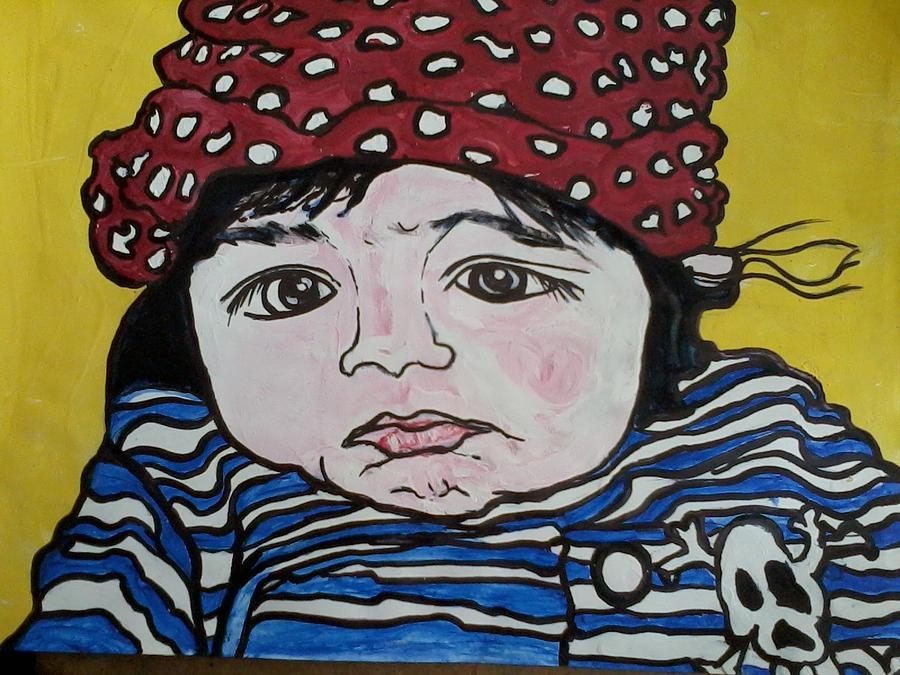 Lady Bug Painting - Baby Bug by Greta Redzko