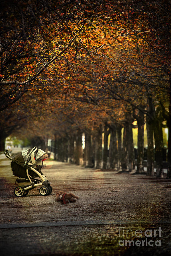 Atmosphere Photograph - Baby Carriage With Toy Bear Alone On Street by Sandra Cunningham
