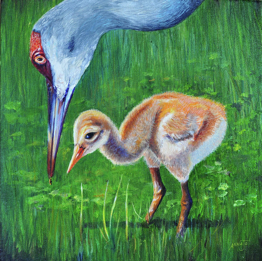 Wildlife Painting - Baby Cranes Lesson by AnnaJo Vahle