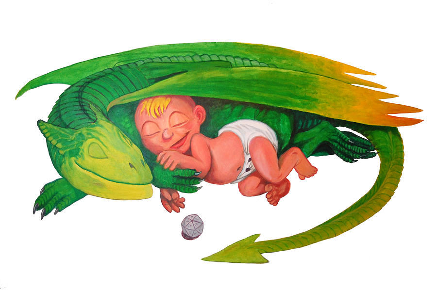 Dragon Painting - Baby Dragon by Harm  Plat